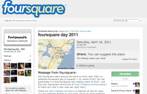 Screenshot of Portsmouth Foursquare Day RSVP page